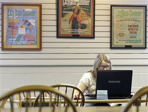 Ohio State student Lindsey Long, of Hilliard, uses the wi-fi connection at Grandview Heights Public Library Wednesday, Sept. 1, 2010, in Grandview Heights, Ohio. Long does research for her thesis at the Grandview Library. (AP Photo/Jay LaPrete)