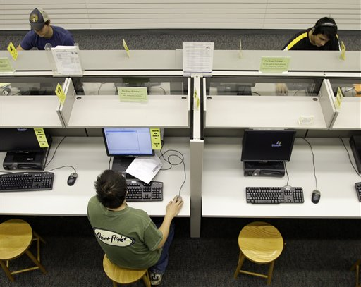 Library patrons work on the computers at the Grandview Heights Public Library Wednesday, Sept. 1, 2010, in Grandview Heights, Ohio. (AP Photo/Jay LaPrete)