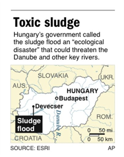 Map locates area in Hungary affected by a toxic sludge flood