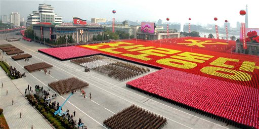 In this photo released by Korean Central News Agency via Korea News Service, North Korean military personnel march during a massive military parade marking the 65th anniversary of the communist nation's ruling Workers' Party in Pyongyang, North Korea on Sunday, Oct. 10, 2010. (AP Photo/Korean Central News Agency via Korea News Service) ** JAPAN OUT **