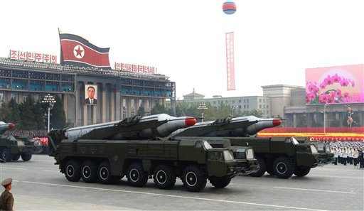 In this photo released by Korean Central News Agency via Korea News Service, North Korean missiles on the trucks make its way during a massive military parade to mark the 65th anniversary of the communist nation's ruling Workers' Party in Pyongyang, North Korea on Sunday, Oct. 10, 2010. (AP Photo/Korean Central News Agency via Korea News Service) ** JAPAN OUT **