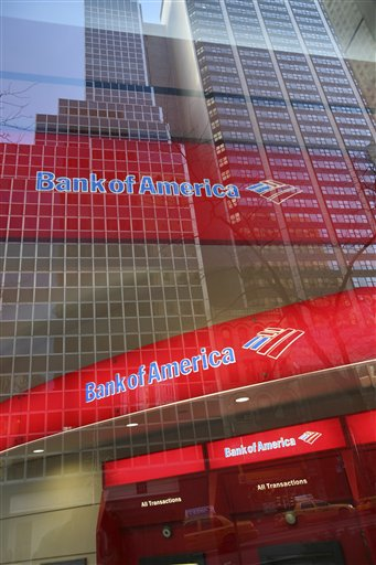 FILE - In this Jan. 25, 2009 file photo, a Bank of America branch office is shown in New York. Say goodbye to free checking _ at least at Bank of America, which will start charging for the most basic services, like $8.75 just to talk to a teller. (AP Photo/Mark Lennihan, file)