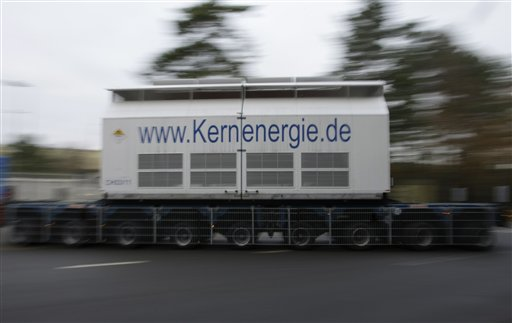 A flatbed trailer carrying Castors with nuclear waste arrives at the nuclear interim storage facility in Gorleben, Germany, Tuesday, Nov. 9, 2010. A shipment of nuclear waste from France made it to a storage facility in northwestern Germany on Tuesday, after police worked through the night to clear a road blockade by more-than 3,000 protesters.(AP Photo/Ferdinand Ostrop)