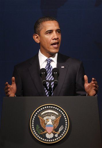 President Barack Obama delivers remarks during the CEO Business Summit at the APEC summit in Yokohama, Japan, Saturday, Nov. 13, 2010. (AP Photo/Pablo Martinez Monsivais)