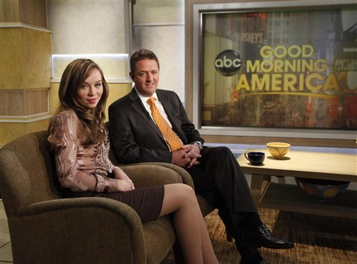 ** CORRECTS DATE OF INTERVIEW TO NOV. 22 ** In this publicity image released by ABC, Capri Anderson, the woman who was found locked in a bathroom of actor Charlie Sheen's hotel room on Oct. 25, 2010 is shown with her attorney, Keith Davidson during an interview on 'Good Morning America,' on Monday, Nov. 22, 2010, in New York. Anderson said she's suing the actor for battery and false imprisonment, and plans to file a criminal report with New York City police. (AP Photo/ABC, Heidi Gutman)