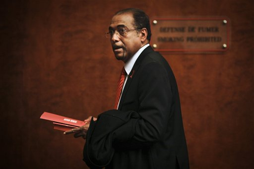 Michel Sidibe, Executive Director of UNAIDS, arrives to deliver the UNAIDS 2010 Global Report on the global AIDS epidemic at the United Nations in Geneva, Switzerland, Tuesday, Nov 23, 2010. In South Africa, the country with the world's largest HIV epidemic, the report suggests new infections have reduced by more than 25 percent. (AP Photo/Anja Niedringhaus)