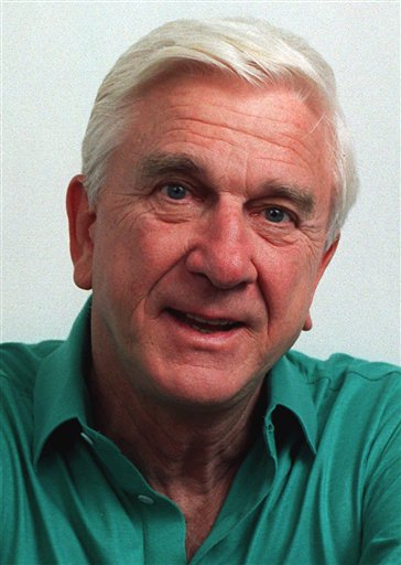 FILE - This file photo taken in November 1991, shows actor Leslie Nielsen. The Canadian-born Nielsen, who went from drama to inspired bumbling as a hapless doctor in 'Airplane!' and the accident-prone detective Frank Drebin in 'The Naked Gun' comedies, has died. He was 84. His agent John S. Kelly says Nielsen died Sunday, Nov. 28, 2010, at a hospital near his home in Ft. Lauderdale, Fla., where he was being treated for pneumonia. (AP Photo/Doug Pizac, file)