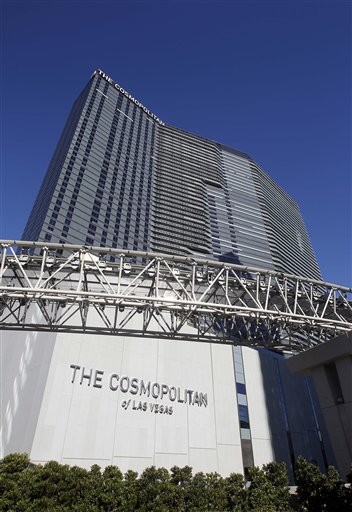 In this photo taken Tuesday, Dec. 7, 2010, the Cosmopolitan of Las Vegas is pictured under the final stages of construction in Las Vegas. The Cosmopolitan, with nearly 3000 rooms and a 100,000 square foot casino floor, is the newest addition to the Las Vegas Strip, opening Dec. 15. (AP Photo/Isaac Brekken)