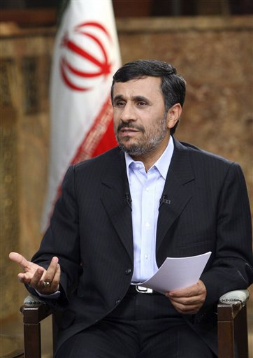 This image provided by the Presidency Office shows Iranian President Mahmoud Ahmadinejad speaking in an interview with state-run TV at the presidency in Tehran, Iran, Saturday, Dec. 18, 2010. Iranian President Mahmoud Ahmadinejad on Saturday called recent talks with six world powers in Switzerland 'positive,' a sign that Tehran may be willing to address concerns about its disputed nuclear program. (AP Photo/Presidency Office, Ebrahim Seyyedi)