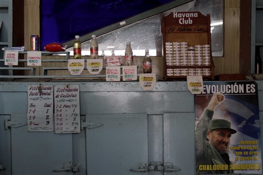 Products sit for sale at a government store where a picture of Fidel Castro hangs in Havana, Cuba, Wednesday Dec. 29, 2010. Cuba's official Gazette reported Wednesday that effective Jan. 1, 'personal cleanliness products' are to be cut from the from the ration books that islanders have come to rely on for a small but steady supply of basic goods. The ration program began in 1962 as a temporary way to guarantee food staples for all Cubans in the face of the United States' then-new embargo. (AP Photo/Franklin Reyes)