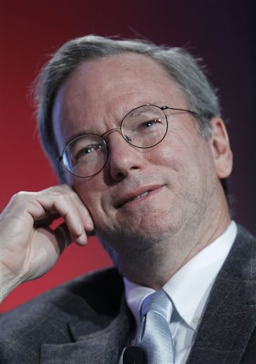 FILE - In this Nov. 15, 2010 file photo, Google CEO Eric Schmidt speaks at the Web 2.0 Summit in San Francisco. Google Inc. co-founder Larry Page is taking over as CEO in an unexpected shake-up that upstaged the Internet search leader's fourth-quarter earnings Thursday, Jan. 20, 2011. Page, 37, is reclaiming the top job from Schmidt, who had been brought in as CEO a decade ago because Google's investors believed the company needed a more mature leader. (AP Photo/Paul Sakuma, File)