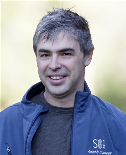 FILE - In this July 8, 2010 file photo, Google co-founder Larry Page arrives to a morning session at the annual Allen & Co. media summit in Sun Valley, Idaho. Page is taking over as CEO in an unexpected shake-up that upstaged the Internet search leader's fourth-quarter earnings Thursday, Jan. 20, 2011. Page, 37, is reclaiming the top job from Eric Schmidt, who had been brought in as CEO a decade ago because Google's investors believed the company needed a more mature leader. (AP Photo/Nati Harnik, File)