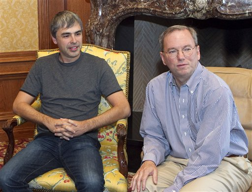 In this photo taken July 8, 2010, Google Inc. CEO Eric Schmidt, right, and Google co-founder Larry Page are seen at the annual Allen & Co. Media summit in Sun Valley, Idaho. Page is taking over as CEO in an unexpected shake-up that upstaged the Internet search leader's fourth-quarter earnings Thursday, Jan. 20, 2011. Page, 37, is reclaiming the top job from Schmidt, who had been brought in as CEO a decade ago because Google's investors believed the company needed a more mature leader. (AP Photo/Nati Harnik)