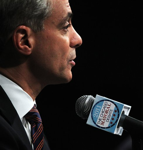 Chicago mayoral candidate Rahm Emanuel participates in a debate with other