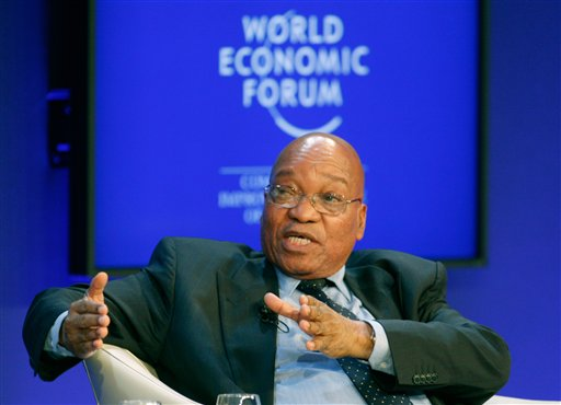 South Africa's President Jacob Zuma addresses a session on Climate Change at the World Economic Forum in Davos, Switzerland on Thursday, Jan. 27, 2011. Focus shifts on Thursday to the future of the euro and the issue of climate change. (AP Photo/Michel Euler)