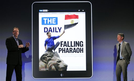 Jon Miller, left, CEO of Digital Media Group of News Corp. and Jesse Angelo, the editor of The Daily, attend the launch of The Daily, Wednesday, Feb. 2, 2011 in New York. The Daily is the world's first iPad-only newspaper. (AP Photo/Mark Lennihan)