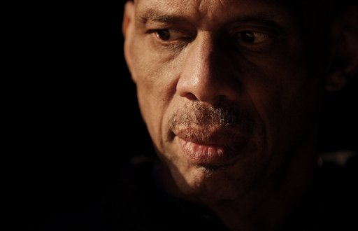 Former NBA basketball star Kareem Abdul-Jabbar, is seen backstage prior to a screening of his documentary film 'On the Shoulders of Giants' at Science Park High School, Thursday, Feb. 10, 2011, in Newark, N.J. (AP Photo)
