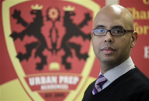 In this photo taken Feb. 11, 2011, Tim King, founder of Urban Prep Tim King, head of Urban Prep Academies, a private network of all-boys schools where for two straight years every senior has been accepted to 4-year colleges and universities, is seen during an interview in Chicago with The Associated Press on the challenges that will face Chicago's next mayor. The election is Feb. 22, 2011.(AP Photo/M. Spencer Green)