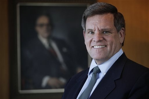 In his photo taken Feb. 14, 2011 Chicago Blackhawks CEO Rocky Wirtz, poses in front of a painting of his grandfather Arthur Wirtz in Chicago. Wirtz was interviewed by The Associated Press on the challenges that will face Chicago's next mayor. The election is Feb. 22, 2011.(AP Photo/M. Spencer Green)
