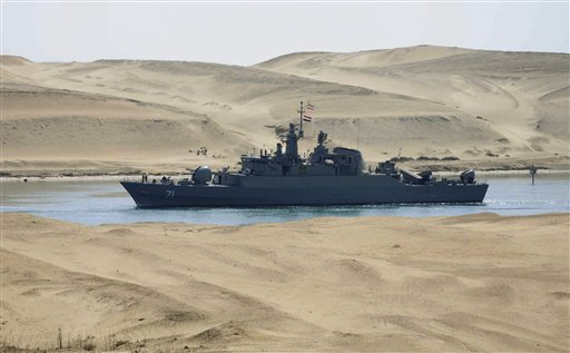 The Iranian navy frigate IS Alvand passes through the Suez canal at Ismailia, Egypt, Tuesday, Feb.22, 2011. The frigate, accompanied by the replenishment ship IS Kharg, entered the Suez Canal on Tuesday enroute to Syria, officials said, the first time in three decades that Tehran has sent military ships through the strategic waterway.(AP Photo)