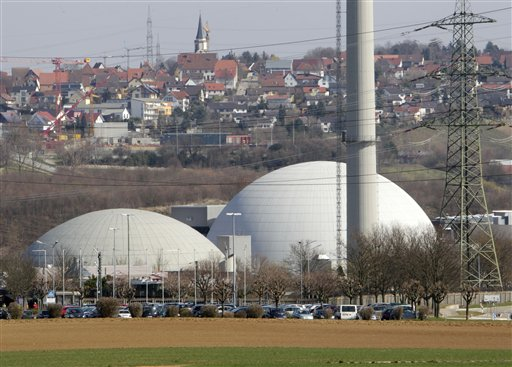 The nuclear plant of Neckarwestheim, southern Germany, photographed on Tuesday, March 15, 2011. Germany will take seven of its 17 nuclear reactors offline for three months while the country reconsiders plans to extend the life of its atomic power plants in the wake of events in Japan, Chancellor Angela Merkel said Tuesday March 15, 2011. They are: Biblis A and Biblis B, Neckarwestheim 1, Brunsbuettel, Isar I , Unterweser and Philippsburg. (AP Photo/Michael Probst)