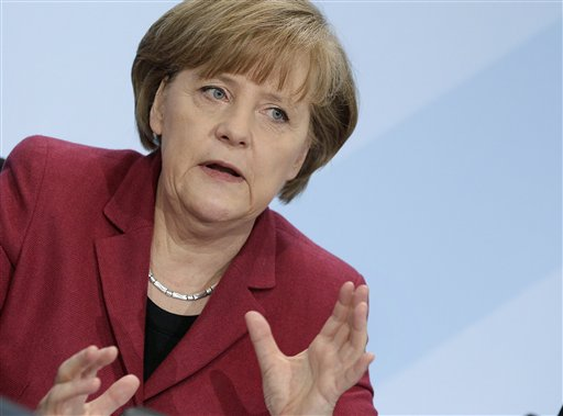 German Chancellor Angela Merkel speaks during a news conference in Berlin, Germany, Tuesday, March 15, 2011. Germany will take seven of its 17 nuclear reactors offline for three months while the country reconsiders plans to extend the life of its atomic power plants in the wake of events in Japan, Chancellor Angela Merkel said Tuesday. (AP Photo/Michael Sohn)