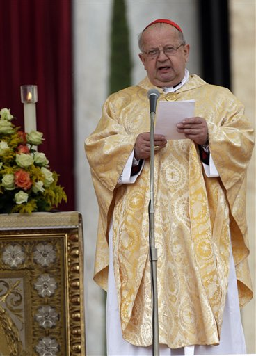 Former late Pope John Paul II personal secretary Cardinal Stanislaw Dziwisz reads his message during a thanksgiving Mass in St. Peter's Square at the Vatican, Monday, May 2, 2011. Tens of thousands of Catholic faithful have filled St. Peter's Square for a Mass of thanksgiving for the beatification of John Paul II. The Mass is being celebrated by the Vatican No. 2, Cardinal Tarcisio Bertone. Among the large crowds entering the square Monday were many Poles overjoyed at Sunday's beatification of the Polish-born pontiff. After Sunday's beatification, about 250,000 faithful filed past John Paul's simple wooden coffin in St. Peter's Basilica. The pope had been buried in the grottoes underneath the church, but his closed casket was brought to the church's center aisle ahead of the beatification. (AP Photo/Pier Paolo Cito)