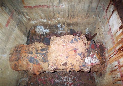 This July 2007 photo made available by the Nuclear Regulatory Commission in response to a public records request by The Associated Press shows a badly rusted valve inside a vault at the closed Indian Point 1 nuclear plant in New York state. The pipe was part of a containment spraying system that was initially a focus of concern as workers tried to find the source of leaks at the site. The leakage was eventually traced to spent fuel pools. The reactor had been shut down since 1974. (AP Photo/Nuclear Regulatory Commission)