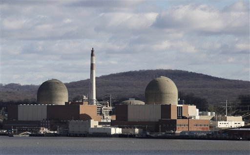 This Wednesday, Dec. 16, 2009 picture shows the Indian Point nuclear power plant along the banks of the Hudson River in Buchanan, N.Y., about 25 miles north of New York City. As of 2011, the now-closed reactor 1 is the smaller dome at center; the 36-year-old reactor 2 is at left and the 34-year-old reactor 3 is at right. Applications to extend the lives of pressurized water units 2 and 3 are under review by the NRC. (AP Photo/Julie Jacobson)