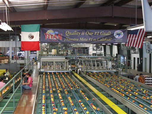 In this, Friday, July 29, 2011, photo, Titan Farms flies both the U.S. and Mexican flags at its packing plant in Ridge Spring, S.C. The farm is benefiting from an agreement allowing U.S. farmers to sell peaches in Mexican grocery stores for the first time since 1994. (AP Photo/Jeffrey Collins)