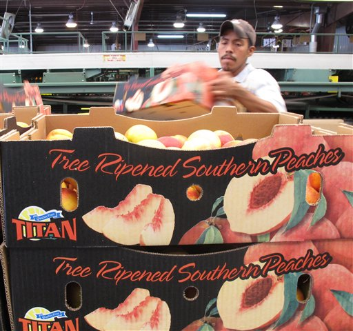 In this Friday, July 29, 2011, photo, a worker stacks boxes of peaches on to a pallet at the Titan Farms packing plant in Ridge Spring, S.C. The farm is benefiting from an agreement allowing U.S. farmers to sell peaches in Mexican grocery stores for the first time since 1994. (AP Photo/Jeffrey Collins)