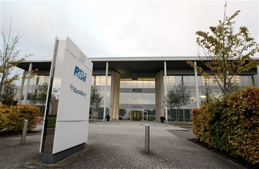 The headquarters of RIM who invented the BlackBerry in Slough, England, Wednesday Oct. 12, 2011. Sporadic outages of BlackBerry messaging and email service spread to the U.S. and Canada on Wednesday, as problems stretched into the third day for Europe, Asia, Latin America and Africa. (AP Photo/PA, Steve Parsons) UNITED KINGDOM OUT NO SALES NO ARCHIVE