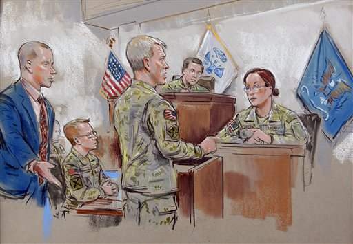 This Sunday, Dec. 18, 2011, courtroom drawing depicts Army Pfc. Bradley Manning, second from left, watching as his attorney, David Coombs, left, objects to questioning by Capt. Ashden Fein, center, of Capt. Casey Fulton, right, during a military hearing that will determine if Manning should face court-martial for his alleged role in the WikiLeaks classified leaks case in Fort Meade, Md. (AP Photo/William Hennessy) NO TV, NO ARCHIVE, NO SALES, LOCALS OUT
