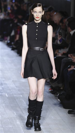 Fashion from the Fall 2012 collection of Victoria Beckham is modeled on Sunday, Feb. 12, 2012 in New York. (AP Photo/Bebeto Matthews)