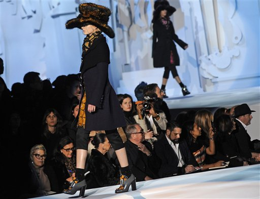 The Marc Jacobs Fall 2012 collection is modeled during Fashion Week, Monday, Feb. 13, 2012, in New York. (AP Photo/Louis Lanzano)