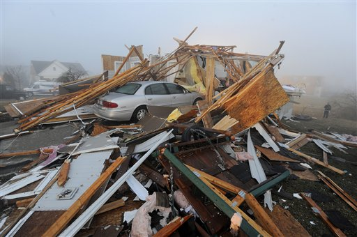 Extensive tornado damage in Dexter, Mich. is seen Friday, March 16, 2012. Initial estimates indicate the tornado that hit Dexter, northwest of Ann Arbor, Thursday evening was packing winds of around 135 mph, National Weather Service meteorologist Steven Freitag said Friday. (AP Photo/Detroit News, Daniel Mears) DETROIT FREE PRESS OUT; HUFFINGTON POST OUT MAGS OUT MANDATORY CREDIT