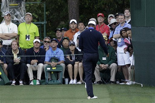 Rory McIlroy, of Northern Ireland, hits his second shot on the fifth fairway during the first round the Masters golf tournament Thursday, April 5, 2012, in Augusta, Ga. (AP Photo/Darron Cummings)