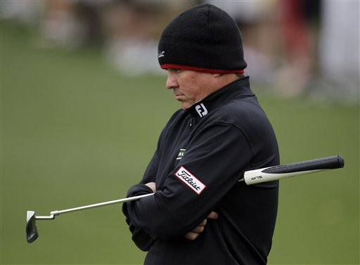 Jason Dufner waits to putt on the second green during the second round the Masters golf tournament Friday, April 6, 2012, in Augusta, Ga. (AP Photo/Chris O'Meara)