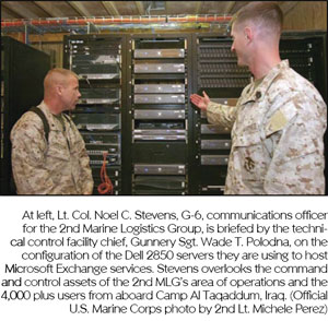 At left, Lt. Col. Noel C. Stevens, G-6, communications officer for the 2nd Marine Logistics Group, is briefed by the technical control facility chief, Gunnery Sgt. Wade T. Polodna, on the configuration of the Dell 2850 servers they are using to host Microsoft Exchange services. Stevens overlooks the command and control assets of the 2nd MLG's area of operations and the 4,000 plus users from aboard Camp Al Taqaddum, Iraq. (Official U.S. Marine Corps photo by 2nd Lt. Michele Perez)