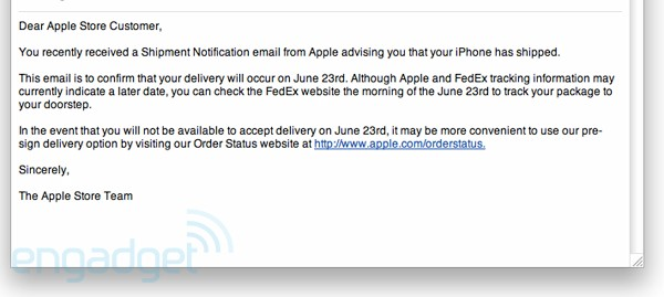 iPhone 4 shipment notification